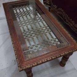 Mesa grande de madera y metal